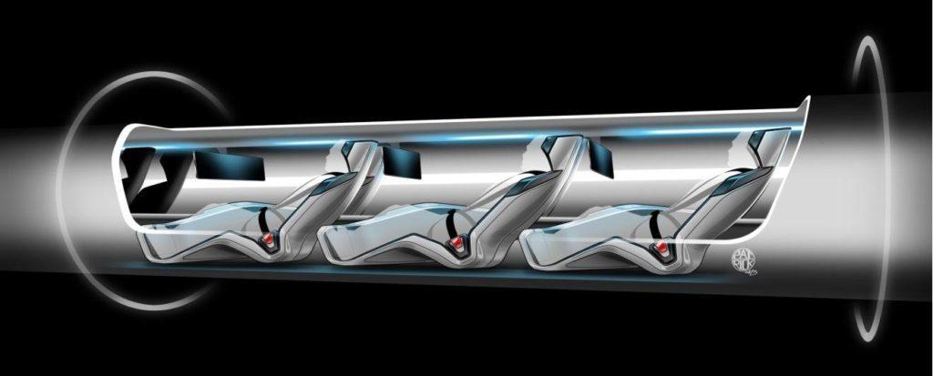 Lidé uvnitř Hyperloopu