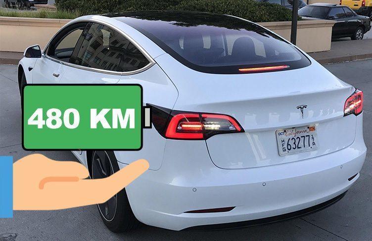 Dojezd Tesla Model 3 může být nad 480 kilometrů!